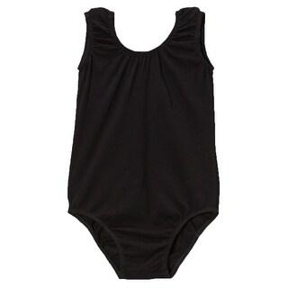 Little Girls Black Cotton Spandex Gym Dance Tank Leotard 0-7