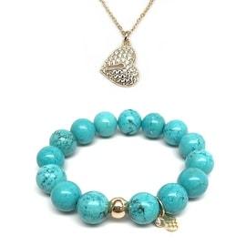 "Julieta Jewelry Set 12mm Turquoise Magnesite Lauren 7"" Stretch Bracelet & 16mm Lock Heart CZ Charm 16"" 14k Over .925 SS Necklace"