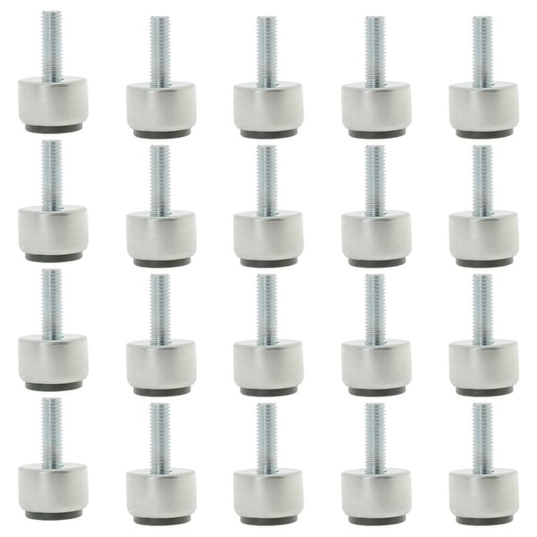 M8 x 25 x 25mm Furniture Leveling Feet Adjustable Leveler Floor Protector Round Base for Table Desk Leg 20pcs