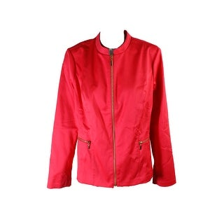 Charter Club Crushed Coral Zip-Front Jacket - 16
