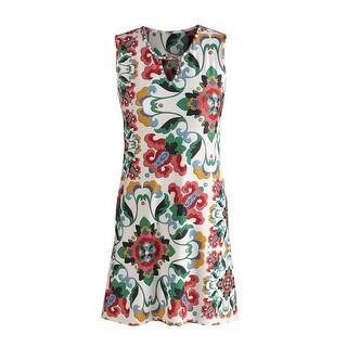Women's Tunic Top - Key Hole Printed Sleeveless Blouse
