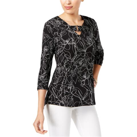 Alfani Womens Embellished Knit Blouse, black, X-Small