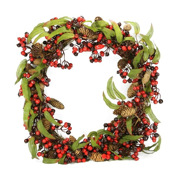 """24"""" Red and Black Berry and Pine Cone Artificial Christmas Wreath - Unlit"""