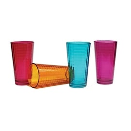 Palais Glassware Vitre Collection; High Quality Glass Beverage Set (Set of 4 - 17 Oz Highballs, Fuschia/Blue/Orange/Purple)