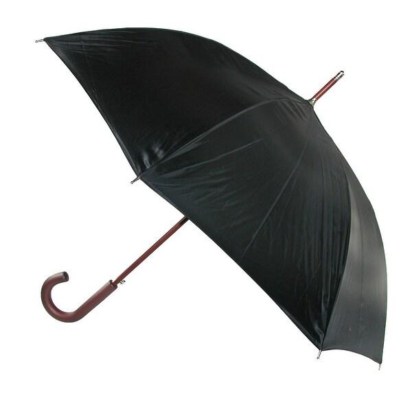 Totes Wooden Hook Handle 38 Inch Stick Umbrella, Black