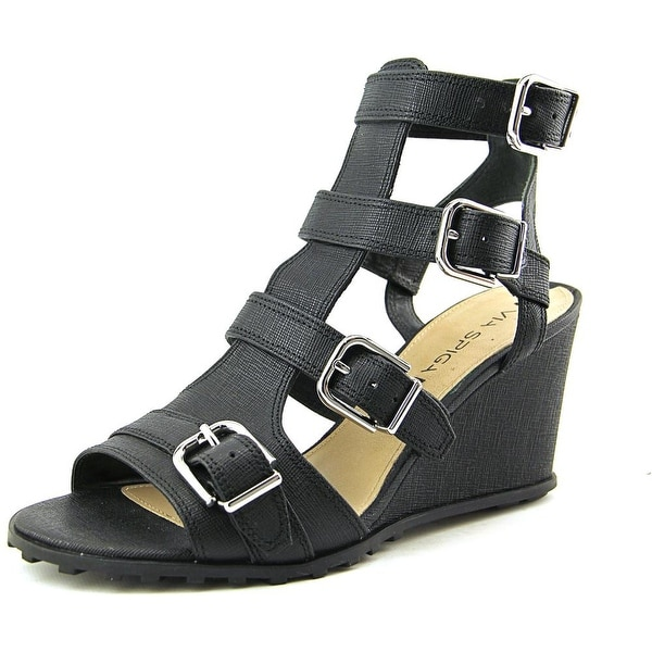 Via Spiga Luxie Open Toe Leather Wedge Sandal