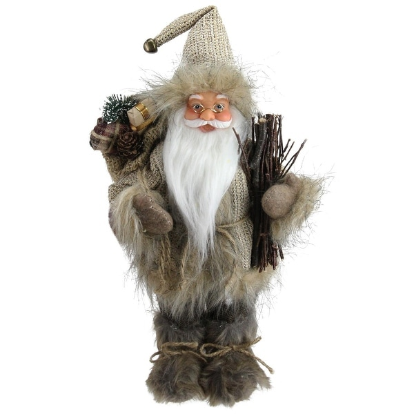 "13"" Alpine Chic Beige and Gray Santa with Snowshoes and Gift Bag Decorative Christmas Figure"