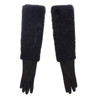 Dolce & Gabbana Black Beaver Fur Lambskin Leather Elbow Gloves