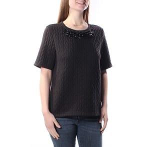 SANCTUARY Womens Black Beaded Geometric Short Sleeve Crew Neck Sweater Size: XS