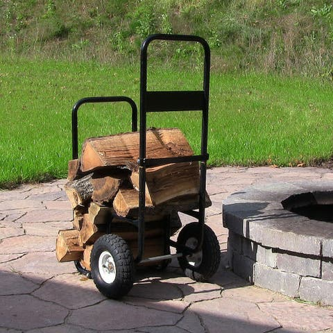 Sunnydaze Heavy-Duty Steel Rolling Wheeled Firewood Log Cart Carrier Dolly - Firewood Log Cart ONLY