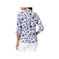NY Collection Womens Petites Button-Down Top Striped Floral