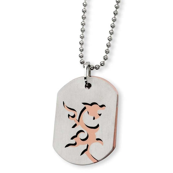 Chisel Stainless Steel and Brown IP-plating Dragon Dogtag Necklace (2 mm) - 24 in