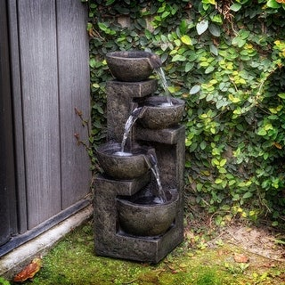 Link to Alpine 24-Inch 3-Tier Cascading Stone Bowl Fountain, Brown Similar Items in Outdoor Decor