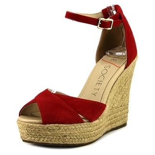 Sole Society Louanna   Open Toe Suede  Wedge Sandal