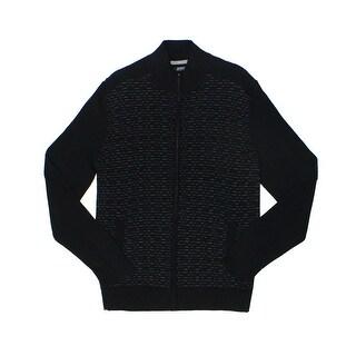 Alfani NEW Midnight Black Mens Size Large L Full Zip Ribbed Sweater