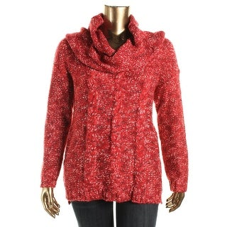 Kensie Womens Cowl Neck Cable Knit Pullover Sweater