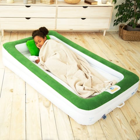 Sleepah Inflatable Toddler Travel Bed With Full Safety Bed Rails Includes Pump Sheet Pillow