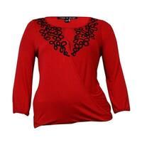 Cable & Gauge Women's Soutache Keyhole Knit Jersey Top