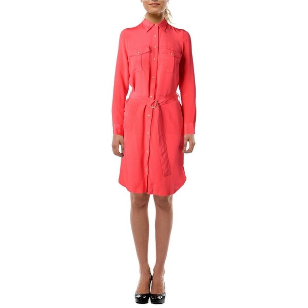 Lauren Ralph Lauren Womens Shirtdress Silk Shimmer