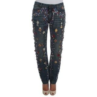 Dolce & Gabbana Dolce & Gabbana Crystal Roses Heart Embellished Jeans