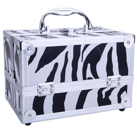 Aluminum Makeup Train Case Jewelry Box Cosmetic Organizer with Mirror