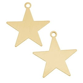 Brass Stamping Blank, Star With Loop 27mm, 2 Pieces, Brass