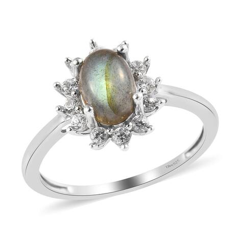 Shop LC Platinum Over 925 Silver Labradorite Zircon Halo Ring Ct 1.6