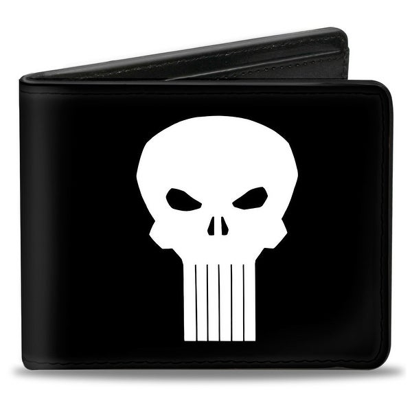 Marvel Universe Punisher Logo3 Black White Bi Fold Wallet - One Size Fits most