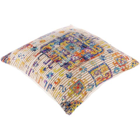 The Curated Nomad Lasuen Boho Woven Jute 26-inch Floor Pillow with Down or Poly Fill