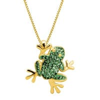Crystaluxe Frog Pendant with Swarovski elements Crystals in 18K Gold-Plated Sterling Silver