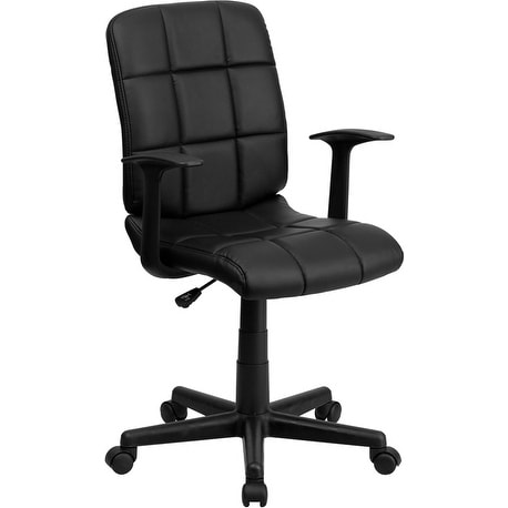 Alexandria Bay Mid-Back Black Quilted Vinyl Swivel Home/Office Task Chair w/Arms