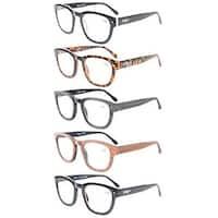 Eyekepper 5-Pack Professor Vintage Style Spring Hinges Arms Reading Glasses+1.0