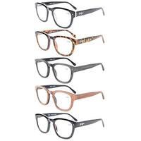 Eyekepper 5-Pack Professor Vintage Style Spring Hinges Arms Reading Glasses+2.75