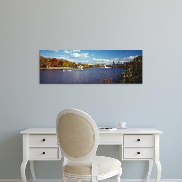 Easy Art Prints Panoramic Images's 'Boat in the river, Schuylkill River, Philadelphia, Pennsylvania, USA' Canvas Art