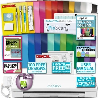 Silhouette CAMEO 3 Machine 28 Sheets Oracal Vinyl & Transfer Paper Bundle Tools