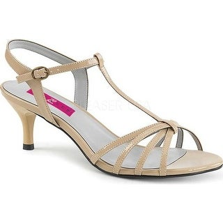 Pleaser Pink Label Women's Kitten 06 T-Strap Sandal Cream Patent