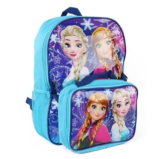 Disney Girls Anna and Elsa Frozen Backpack and Lunch Bag - Sky blue