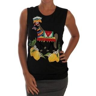 Dolce & Gabbana Dolce & Gabbana Black Crystal Lemon Tank Top