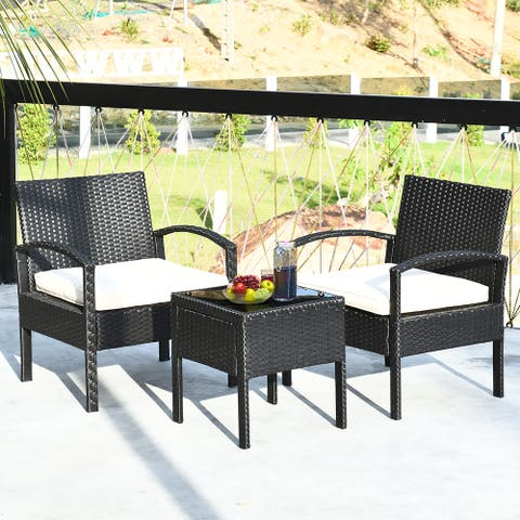 Costway 3PCS Patio Rattan Furniture Set Table & Chairs Set with