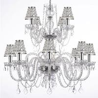 Empress Crystal Chandelier Lighting With Chrome Sleeves H27 x W32
