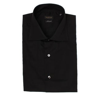 Valentino Men's Spread Collar Interfit Stretch Cotton Dress Shirt Black