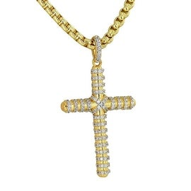 "Cross Pendant Jesus Crucifix Charm 18K Gold Tone Iced Out Unique Free 24"" Stainless Steel Box Chain"