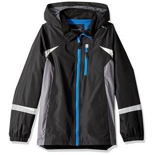 London Fog Boys 8-20 Color Blocked Hooded Jacket - Black