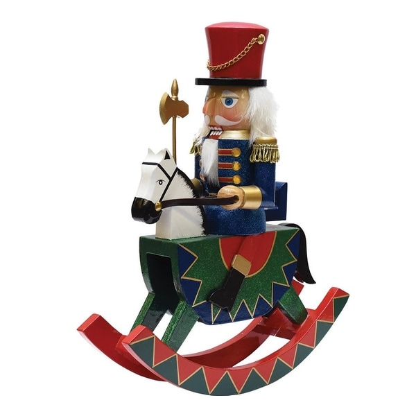 "12"" Decorative Wooden Green, Red and Blue Christmas Nutcracker Soldier on Rocking Horse"