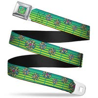 Rz Floral3 Stripes Full Color Turquoise Greens Yellows Rz Floral3 Stripes Seatbelt Belt