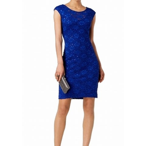 Connected Apparel Royal Blue Womens Size 6 Sequin Lace Sheath Dress