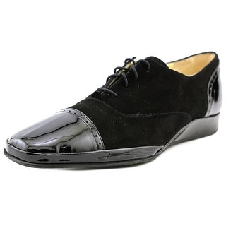 Amalfi By Rangoni Eliseo Women SS Square Toe Suede Black Oxford