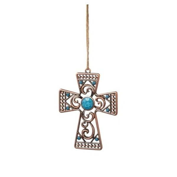 "4"" Decorative Bronze Tone Cross Christmas Ornament with Blue Faceted Stones"