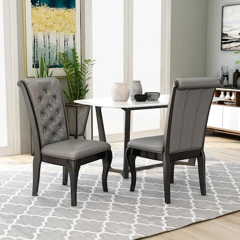 Furniture of America Mora Transitional Grey Side Chairs (Set of 2)