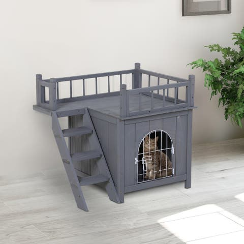 PawHut Inside & Outside Cat Tree Apartment/Condo with Interior House Space, Side Staircase & Upstairs Patio with Railing